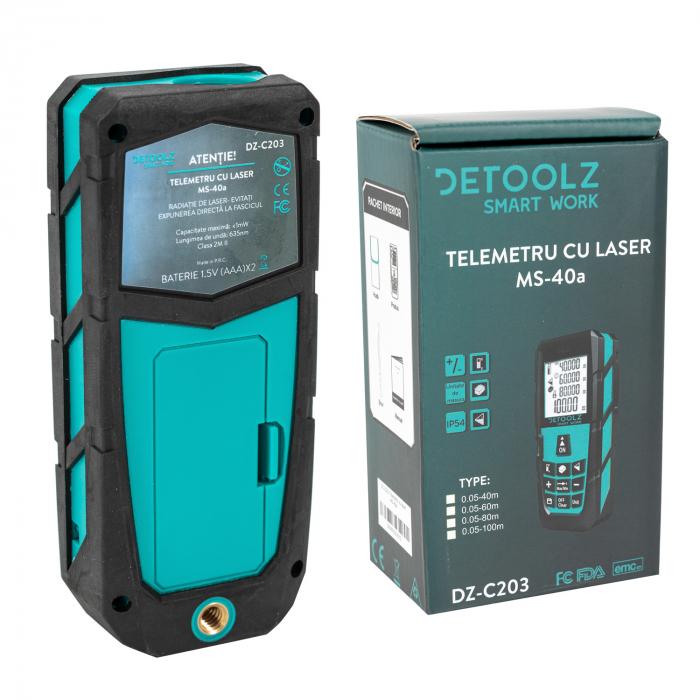 Telemetru cu laser MS-40a DETOOLZ, interval masurare 0,05-60m, precizie +/-1,5mm, memorie 20 masuratori [1]