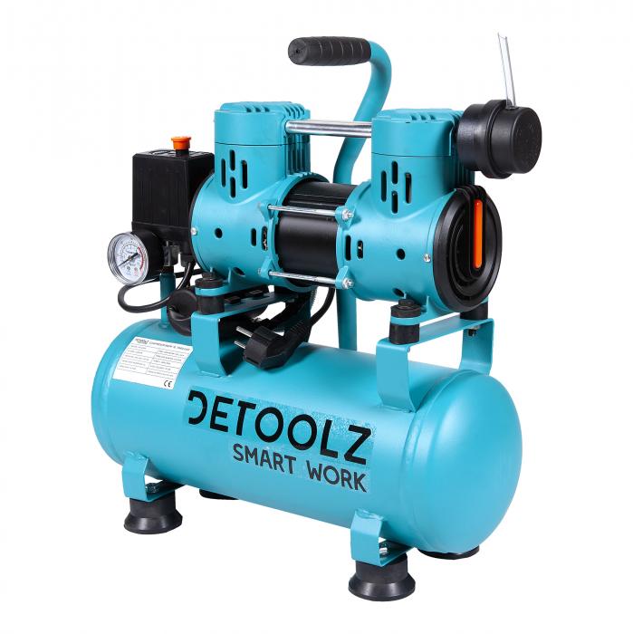 Compresor fara ulei 880W, capacitate 9L, 80L/min, Detoolz DZ-C265 [3]
