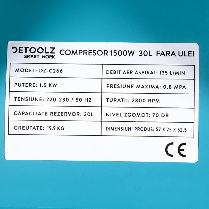 Compresor fara ulei 1500W, capacitate 30L, 135L/min , Detoolz DZ-C266 [6]