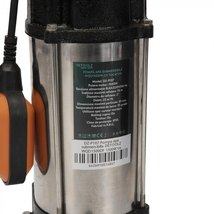 Pompa apa submersibila WQD1500DF 1500W cu tocator si plutitor Detoolz DZ-P107 [1]
