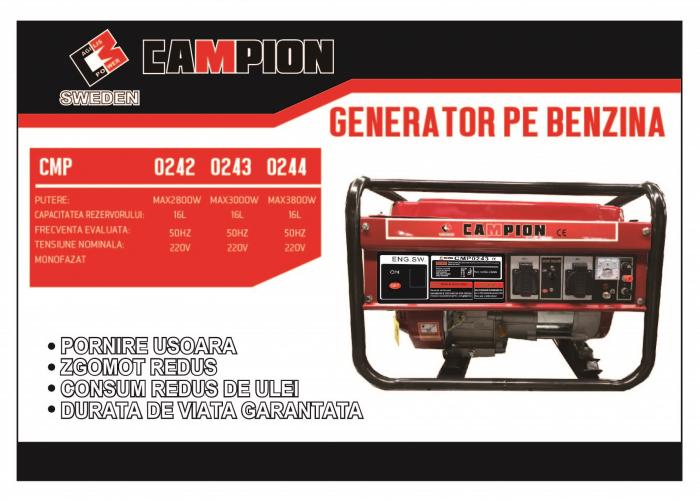Generator curent electric Campion CMP0242, 2500 W, 220V, 2 prize monofazat [1]
