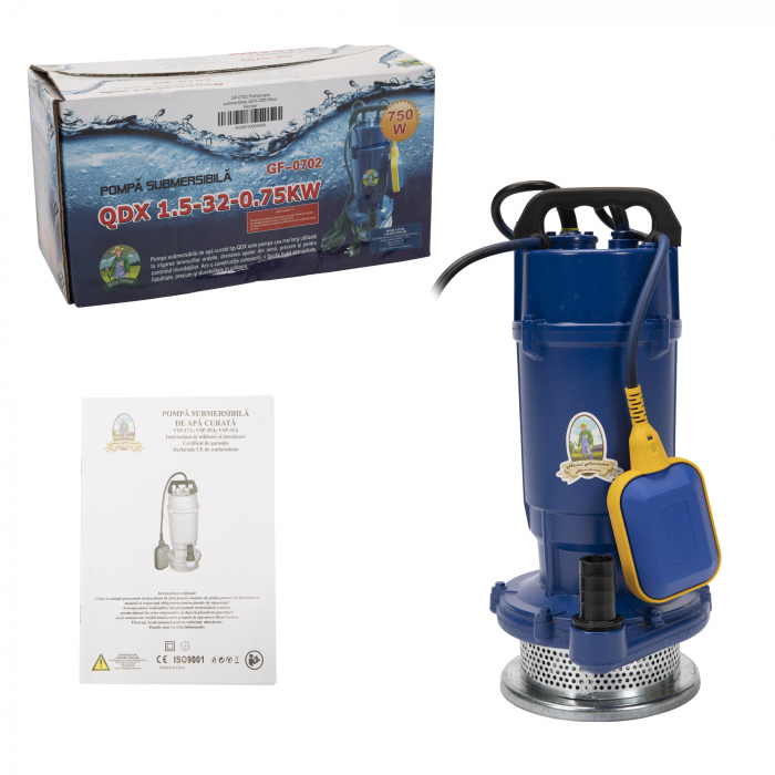 Pompa apa submersibila cu plutitor apa curata, 32m, 0,75kW,  Micul Fermier GF-0702 [3]