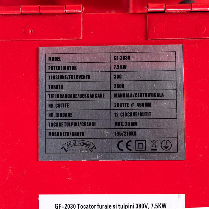 Tocator furaje si tulpini 380V, TRIFAZIC, 7.5KW Micul Fermier GF-2030 [4]
