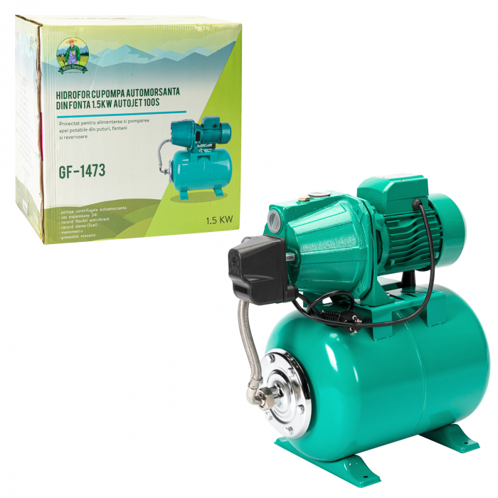 Hidrofor cu pompa autoamorsanta din fonta 1,5kW, Autojet 100SS Micul Fermier GF-1473 [2]