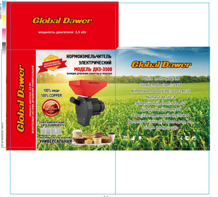 Moara electrica cuva mare pentru cereale,boabe si stiuleti (2 in 1), Global Dawer, 3500 W, 200 kg/h [2]