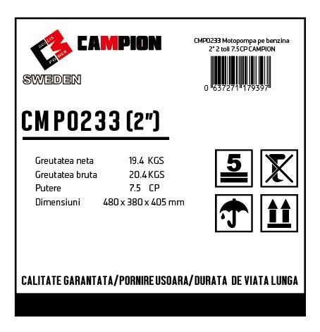 "Motopompa pe benzina 2"" 2 toli 7.5CP, 4 timpi, 196 CC, CAMPION CMP0233 [2]"