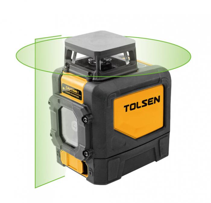 Nivela laser profesionala, autonivelare, doua planuri 360* grade, fascicul verde, Tolsen 35154 [0]