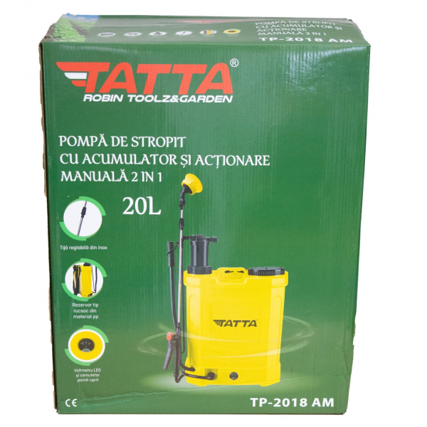 Pompa stropit acumulator, vermorel 20L, 2 in 1 ( acumulator+manuala) 12v, 5 bar, TATTA 4