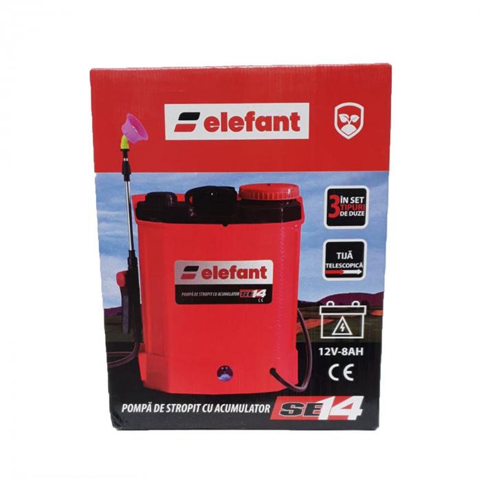 Pompa stropit electrica Elefant 14 Litri, 5 Bar, reglaj presiune, vermorel cu baterie acumulator 12V + Cadou Foarfeca Vie [3]