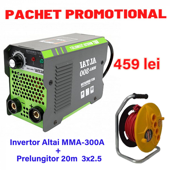 Pachet Invertor de sudura Altai MMA 300A + Prelungitor tambur 20m 3x2.5 [0]