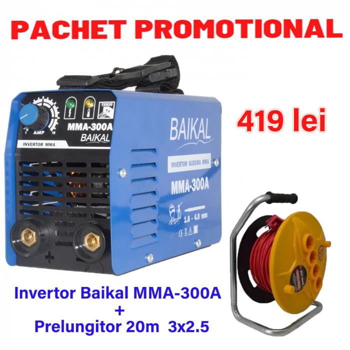 Pachet Invertor de sudura Baikal MMA 300A + Prelungitor tambur 20m 3x2.5 [0]