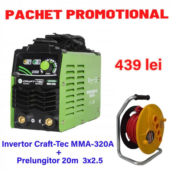 Pachet Invertor de sudura Craft-tec MMA 320A + Prelungitor tambur 20m 3x2.5 [0]