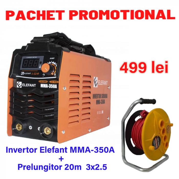 Pachet Invertor de sudura Elefant MMA 350A + Prelungitor tambur 20m 3x2.5 [0]