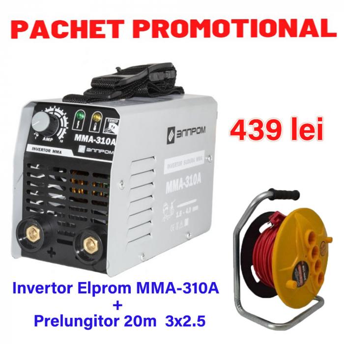 Pachet Invertor de sudura Elprom MMA 310A + Prelungitor tambur 20m 3x2.5 [0]