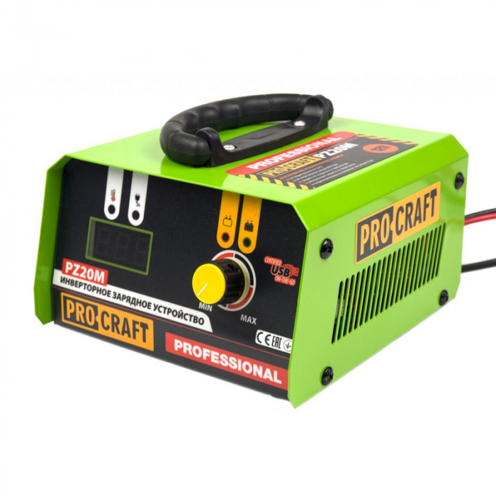 Redresor Auto Profesional Procraft PZ20, 20 A, 330 W, 12 V, port USB, ecran digital, protectie suprasarcina, indicator LED, invertor [2]