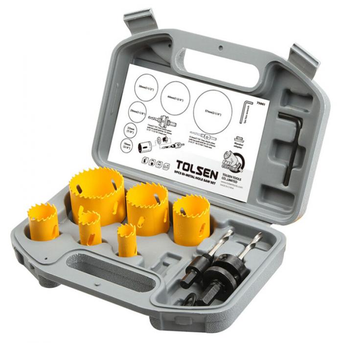 Carote inelare Bi-metalice pentru lemn, 9 bucati, Tolsen 75861 [0]
