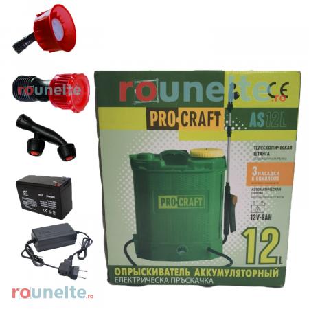 Pompa stropit electrica PROCRAFT 12 Litri, 5 Bar, reglaj presiune, vermorel cu baterie acumulator 12V [3]