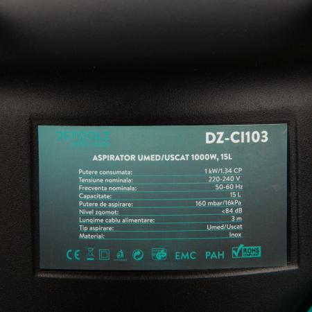 Aspirator uscat umed DeToolz DZ-CI103, 1000W, capacitate 15L [6]