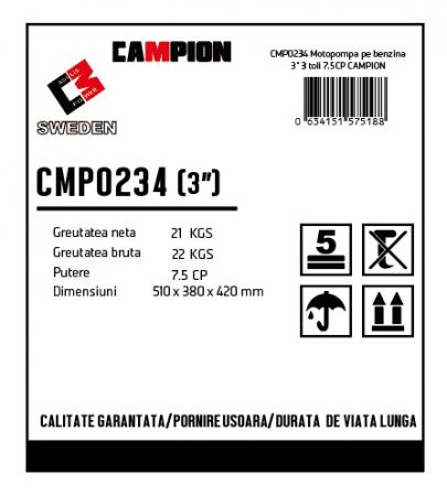 "Motopompa pe benzina 3"" 3 toli,  7.5CP, 4 timpi, 196 CC, CAMPION CMP0234 [2]"