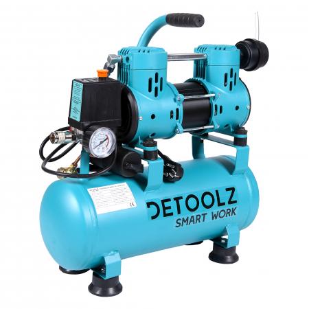 Compresor fara ulei 880W, capacitate 9L, 80L/min, Detoolz DZ-C265 [0]