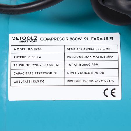 Compresor fara ulei 880W, capacitate 9L, 80L/min, Detoolz DZ-C265 [4]
