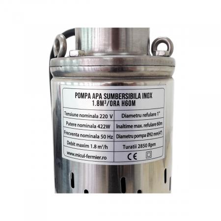 Pompa apa submersibila 60m inox 4SK-100 cu snec 1.8mc Micul Fermier GF-1709 [1]