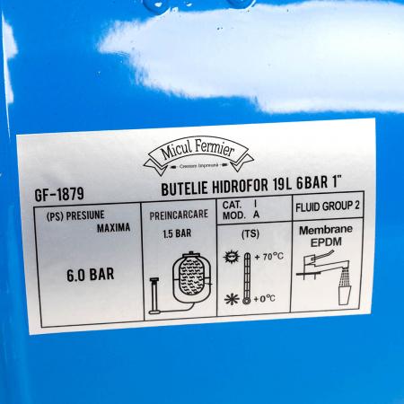 """Butelie HIDROFOR 19L, 6 bar, 1""""  Micul Fermier GF-1879 [2]"""
