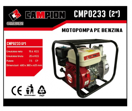 "Motopompa pe benzina 2"" 2 toli 7.5CP, 4 timpi, 196 CC, CAMPION CMP0233 [1]"
