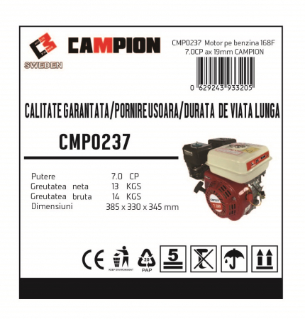Motor pe benzina Campion CMP0237 7 Cp, 4 timpi, OHV, ax pana 20 mm [2]