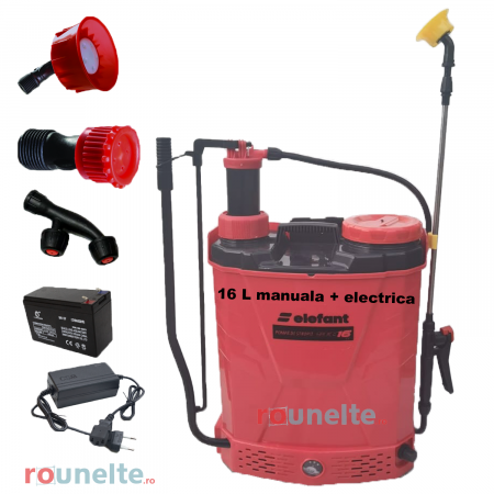 Pompa stropit acumulator, vermorel 16L, 2 in 1 ( electrica+manuala ), 12 V, Elefant [0]