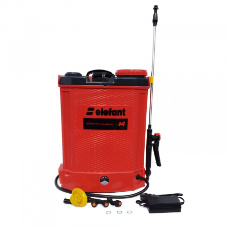 Pompa stropit electrica Elefant 14 Litri, 5 Bar, reglaj presiune, vermorel cu baterie acumulator 12V + Cadou Foarfeca Vie [1]