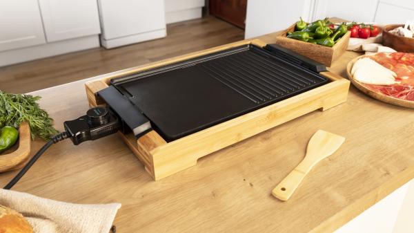 Gratar electric Cecotec Tasty&Grill 2000 Bamboo, 2000W, cadru din bambus, termostat reglabil 1