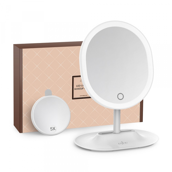 Oglinda cosmetica Anjou iluminata LED, control Touch, Marire 5X acumulator reincarcabil 0
