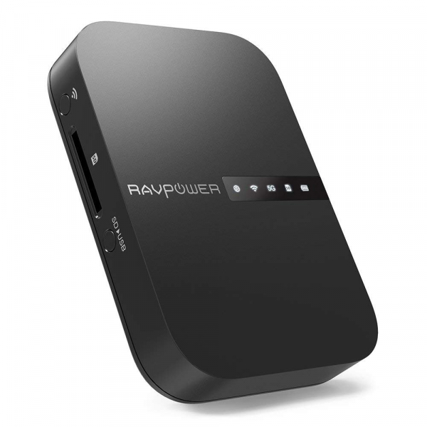 Router Wireless Portabil - Filehub RavPower RP-WD009 5 in 1, Cititor Carduri, Travel Router Backup, Baterie Externa 6700mAh 0