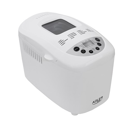 Masina de paine ADLER AD 6019,gluten free, 2 palete framantare, 1100 W, 1250 g, 12 Programe, afisaj LCD, Alb 0