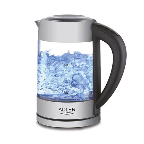 Fierbator ADLER AD 1247 cu reglare temperatura, 2200wati,1.7l, sticla,leduri iluminare,negru/inox 0