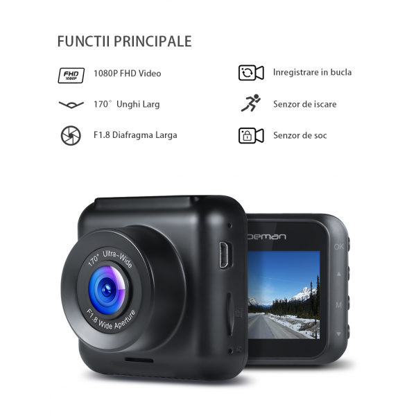 Camera auto DVR Apeman C420, Full HD, Unghi 170 grade G-Sensor, Mod parcare, Filmare in bucla 1