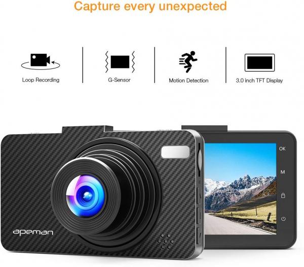Camera auto DVR Apeman C450, Full HD, Unghi 170 grade, G-Sensor, Mod parcare, Filmare in bucla [1]