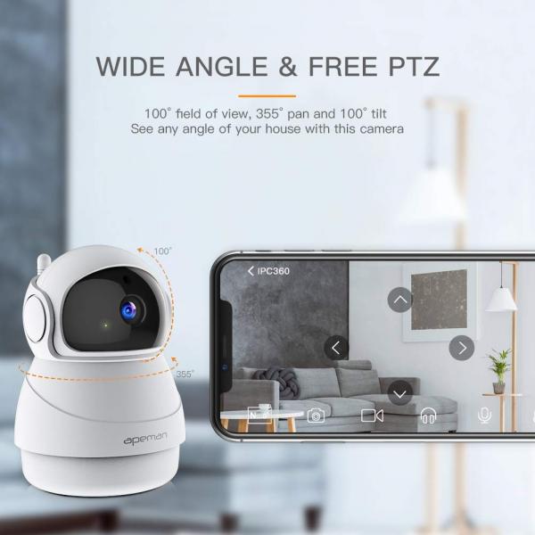 Camera supraveghere Wireless Apeman ID73, Full HD, Infrarosu, Alarma, Conectare Telefon 1