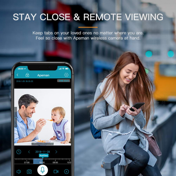 Camera supraveghere Wireless Apeman ID73, Full HD, Infrarosu, Alarma, Conectare Telefon 7
