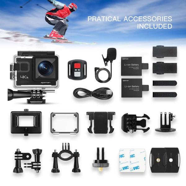Camera video sport Apeman A79, 4K, Wi-Fi, HDMI, Accesorii incluse, waterproof 40m, 2-inch, 2 Acumulatori, Telecomanda 1
