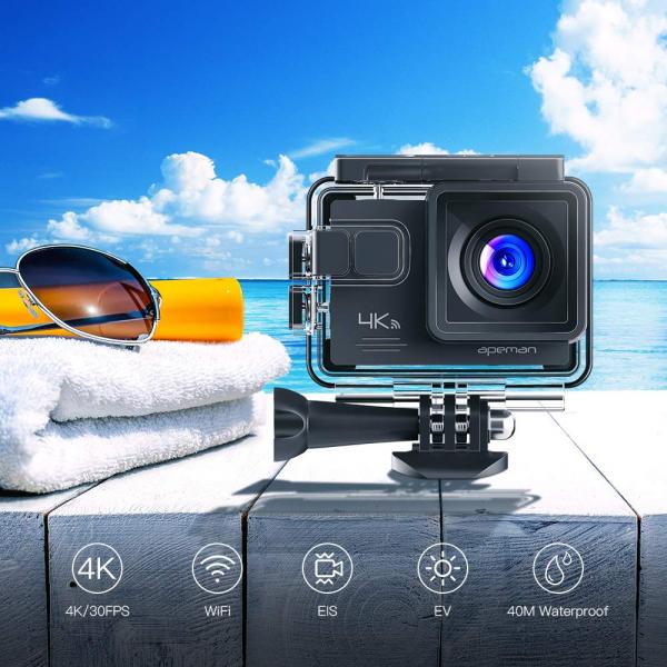Camera video sport Apeman A79, 4K, Wi-Fi, HDMI, Accesorii incluse, waterproof 40m, 2-inch, 2 Acumulatori, Telecomanda 2