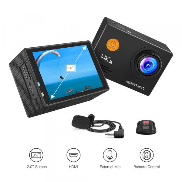 Camera video sport Apeman A79, 4K, Wi-Fi, HDMI, Accesorii incluse, waterproof 40m, 2-inch, 2 Acumulatori, Telecomanda 4