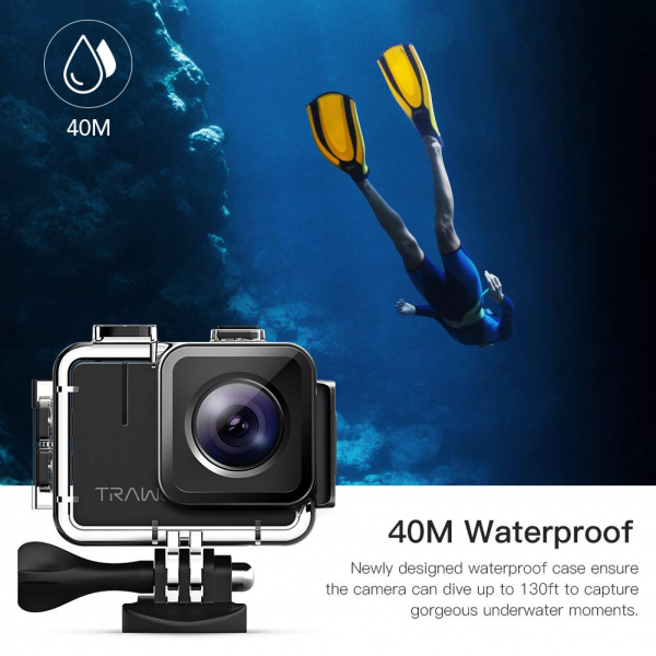 Camera video sport Apeman A100 TRAWO, 4K/50fps, Wi-Fi, Stabilizator imagine, waterproof 40m, 2-inch, 2 Acumulatori 3