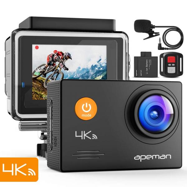 Camera video sport Apeman A79, 4K, Wi-Fi, HDMI, Accesorii incluse, waterproof 40m, 2-inch, 2 Acumulatori, Telecomanda 6