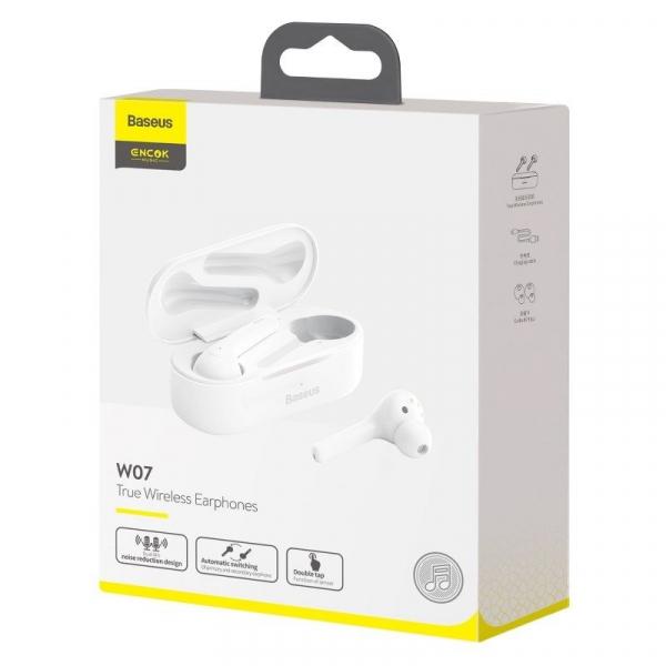 Casti audio In-Ear Baseus W07, True Wireless, Bluetooth 5.0,  TWS, alb 4