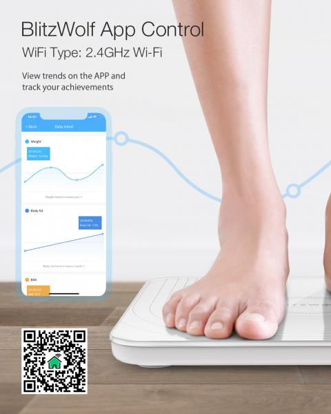 Cantar corporal Smart BlitzWolf Body Fat, 13 valori masurate, BMI, Alb 2