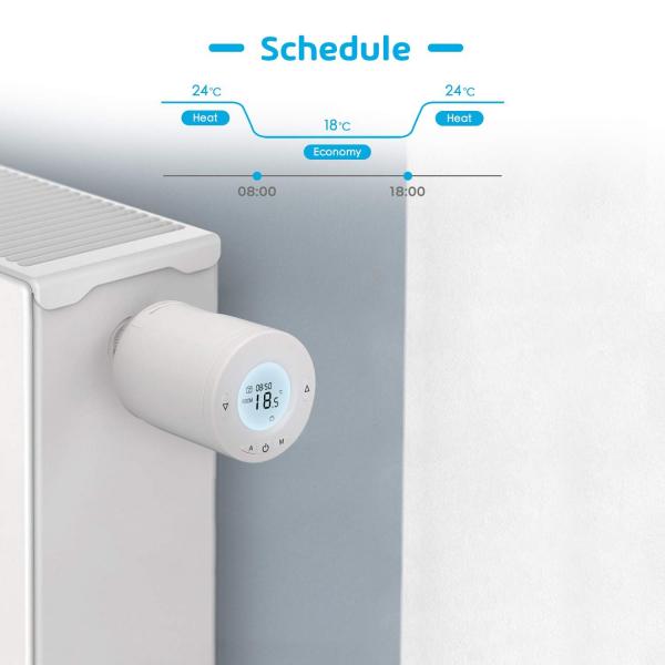 Kit Cap termostatic calorifer Meross MTS100H cu Hub, Smart, Alexa, Google Home, control smartphone 2