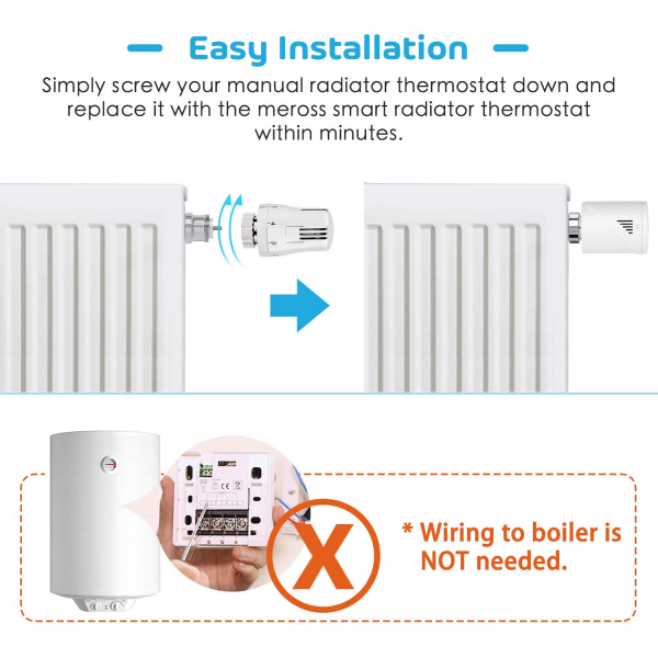 Kit Cap termostatic calorifer Meross MTS100H cu Hub, Smart, Alexa, Google Home, control smartphone 8