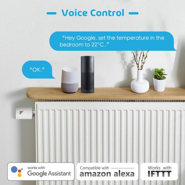 Kit Cap termostatic calorifer Meross MTS100H cu Hub, Smart, Alexa, Google Home, control smartphone 9
